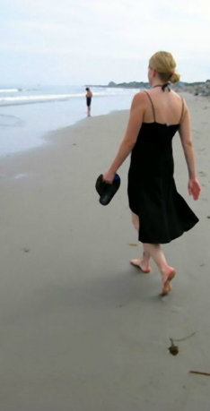 Anna-Liisa walking on the sacred sands of Rye Beach (New Hampshire)